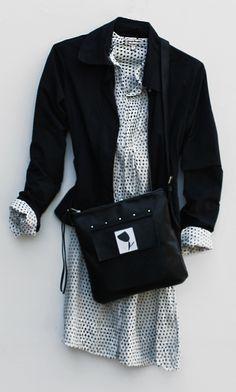 Black messenger bag - spring outfit  http://www.etsy.com/it/shop/BorsebyD www.borsecomp.com  #bags #backpacks #crossbody #purses #clutch #leather #fashion #girl  #womanaccessories #stylish #womanish #Italy #italian #handamade  #handmadeinitaly #borsebyd