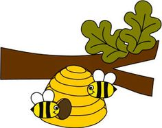 summer branch, beehive and bumblebees paper craft