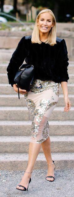 Petra Tungarden Embellished Pencil Skirt Fall Inspo