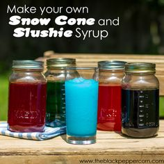 Make Your Own Snow Cone and Slushie Syrup Recipe and Instructions - Simple instructions to make slushy syrup and snow cone syrup with Kool Aid unsweetened flavor packets, sugar and water. Perfect for a frozen drink for summer! Frozen Drinks, Frozen Desserts, Frozen Treats, Slushie Syrup Recipe, Snow Cone Syrup Recipe Kool Aid, Cherry Syrup, Sno Cones, How To Make Snow, Slushies