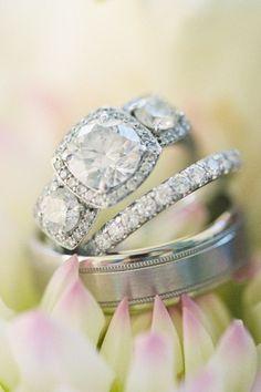 radiant brilliant cutting three stone diamond wedding engagement rings
