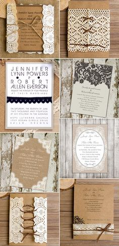 "Country lace and burlap rustic wedding invitations//Use coupon code ""CVB"" to get 10% off towards all the invitations."