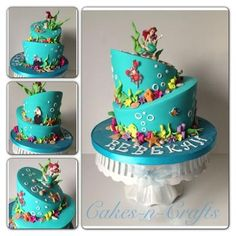 Topsy turvy little mermaid cake.