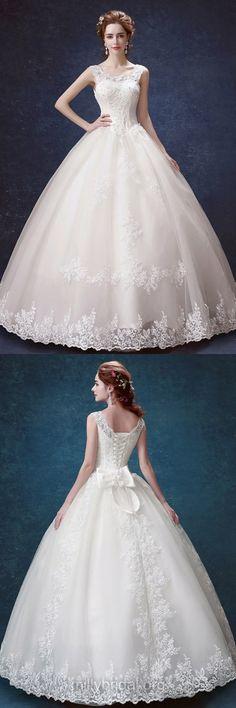 Elegant Ball Gown Wedding Dresses, Beach Wedding Dresses, Cheap Wedding Dresses, Scoop Neck Satin Tulle Vintage Wedding Dresses