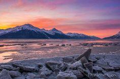 Beautiful winterscape and #sunset along the Turnagain Arm near #Girdwood, #Alaska.