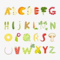 Food Alphabet Made Vegetables Fruits Font Stock Vector (Royalty Free) 413532532 Food Typography, Typography Alphabet, Lettering Design, Hand Lettering, Logo Design, Food Font, Logo Food, Food Alphabet, Fruit Vector
