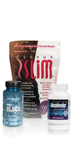Plexus Slim®, Accelerator+, and Block Combo   Experience the powerful one-two-three punch of taking Plexus Slim®, Accelerator+ and Block. With the synergistic effect of taking these three products together, you lose more weight.