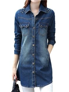 Ericdress Single-Breasted Rivet Mid-Length Denim Outerwear