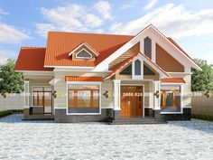 Four-bedroom Bungalow with Well-designed Facade - Ulric Home 3d House Plans, Family House Plans, New Home Designs, Home Design Plans, Roof Styles, House Styles, Double Story House, House Construction Plan, Classic House Design