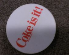 Coke is it pin badge 1980s