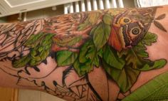 Session 16, 13/12/14, Greenman tattoo, start leaf work on back/inner thigh, by Craig Smith at Skin Graphics, Lowestoft, UK