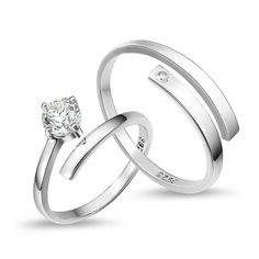 [$3.15] Opening Couple Rings (specification: Men small drill , Purity: Sterling Silver)