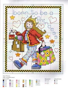 point de croix humour fille shopping princesse - cross stitch humor girl shopping born to be a princess
