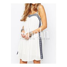 SheIn(sheinside) White Spaghetti Strap Backless Dress (€18) ❤ liked on Polyvore featuring dresses, white, short sleeve dress, summer beach dresses, white dress, white shift dress and white backless dress