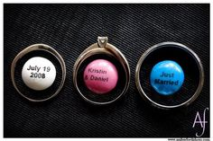 Wedding rings with customized candy : Amber Ford Photography
