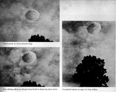On many occasions UFOs are reported to become gradually engulfed in a vapor cloud. The fully developed cloud looks like any other cloud in the sky and affords the UFO with a very convenient hiding place. The series of photographs made by the army private, not only show the rare ring object, but also shows it gradually becoming engulfed in the vapor cloud. - Date of sighting: September 1957 - Location of sighting: Fort Belvoir, Virginia, USA - #ufo #aliens #clouds #et #sky