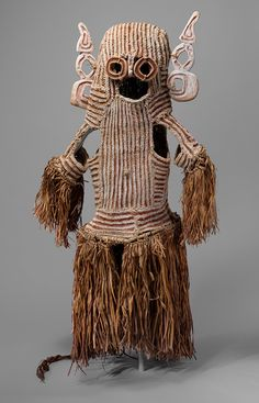 Body Mask (Det), mid-20th century Asmat people, Ambisu village, New Guinea, Papua (Irian Jaya) Province, Indonesia Wood, fiber, leaves, paint