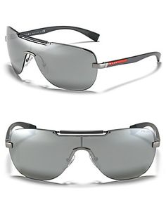 Prada Shield Thin Temple Sunglasses | Bloomingdale's