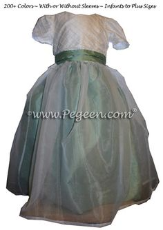 Celedon Green and Antique White Flower Girl Dresses With Silk Pintuck Trellis Style 307