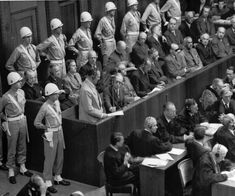 A visibly thinner Herman Goering addresses the international tribunal at Nuremberg. Goering was sentenced to death but committed suicide hours before he was scheduled to hang.
