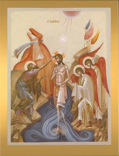 George Kordis (Greek, Baptism of Christ. Egg tempera on wood, 75 × 55 cm. Religious Images, Religious Icons, Religious Art, Byzantine Icons, Byzantine Art, Baptism Of Christ, Church Icon, Paint Icon, Christian Art