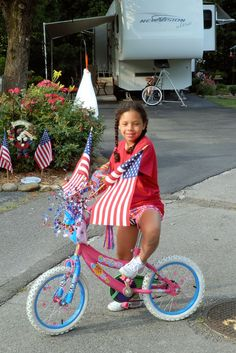 Haley decorated her bike for the annual 4th. of July parade at the camper.  2012.
