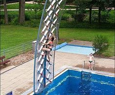 Poolside Rock Climbing Wall