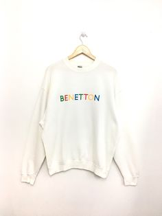 a8cc9a5d8 Vintage BENETTON SweatShirt Embroidery Spellout Multicolor Small Size