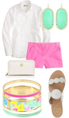Cute Spring Pastels- kendra scott earrings, jack rogers, lilly pulitzer, and tory burch
