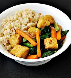 Fuss Free Cooking | Tofu Puffs with Chinese Kale (Gai-Lan) and Carrot | http://www.fussfreecooking.com
