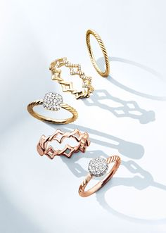 Delicate gold rings that are perfect for stacking.
