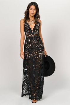 Wild Child Black Lace Maxi Dress Nights out or festivals, slip into the Black Wild Child Lace Maxi Dress. In sheer corded lace with a lining to the thigh, the sexy maxi dress has a de Sexy Maxi Dress, White Maxi Dresses, The Dress, Sexy Dresses, Summer Dresses, Floral Maxi, Long Dresses, Casual Dresses, Party