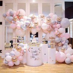 Beautiful Twinkle, Twinkle Little Star Balloon Arch With Moon & Star Balloons Baby Hacks, Chandelier, Ceiling Lights, Lighting, Desserts, Baby Shower Parties, Baby Shower Themes, Home Decor, Crackers