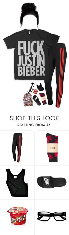 """Does it bother anyone else that someone else has your name"" by xxghostlygracexx ❤ liked on Polyvore featuring adidas, Justin Bieber, HUF, NIKE, ZeroUV and Hot Topic"