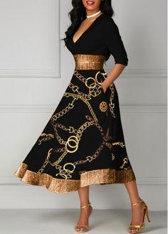 party dress for women Gold Chain Print Glitter Printed Midi Dress Trendy Dresses, Women's Fashion Dresses, Dresses For Sale, Dresses Dresses, Dress Sale, Cheap Dresses, V Neck Midi Dress, Sheath Dress, Black Dresses Online