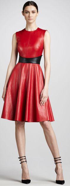 Monique Lhuillier Red Swingy Leather Dress