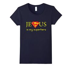 Women's Jesus Is My Superhero T-shirt XL Navy