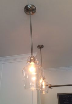 Savoy House Vintage Mini Pendants in satin nickel (SKU 7-4134-1-SN) in Marc and Ashleigh's kitchen from Property Brothers