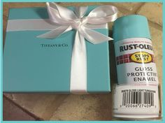 "I finally found it! A dead lock for Tiffany blue spray paint. Rust-oleum #284678 ""Gloss Light Turquoise"" I took this box to the store to match it up. Still don't know if it's available in flat or satin, but that could be done with clear coat anyway."