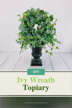 Learn how to make a DIY Ivy Wreath Topiary from Julie, owner of Southern Charm Wreaths.  A perfect decoration for a wedding, interior home decor, or sell at craft shows, this topiary is very versatile and is perfect for your home decor! Artificial Flower Arrangements, Artificial Flowers, Floral Arrangements, Mantle Decorating, Decorating Ideas, Decor Ideas, Craft Ideas, Diy Home Decor Projects, Topiary