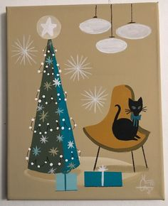 EL GATO GOMEZ PAINTING MID CENTURY MODERN EAMES ERA CAT CHRISTMAS TREE HOLIDAY #Modernism