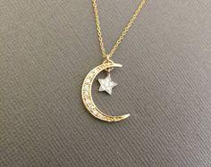 925 luna y estrella collar collar de estrellas y la luna