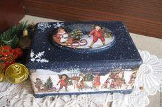 Купить Шкатулка Зимние забавы синий - шкатулка, шкатулка для украшений, шкатулка для мелочей, шкатулка декупаж