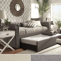 TRIBECCA HOME Knightsbridge Tufted Scroll Arm Chesterfield Daybed with Trundle - Overstock Shopping - Great Deals on Tribecca Home Beds