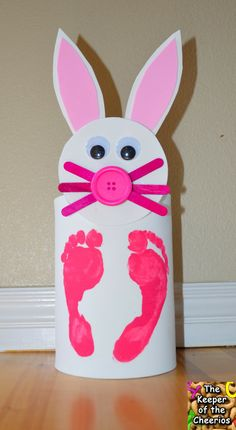 The Keeper of the Cheerios: Easter Bunny Coffee Can Foot Print Craft