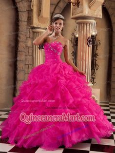 2014 Spring Sweetheart Hot Pink Organza Ruffles Quinceanera Dresses