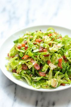Brussels Sprouts Bacon Salad - You may think you hate brussels sprouts until you have this amazing, super crisp bacon-loaded salad! by Rhee Bacon Recipes, Salad Recipes, Cooking Recipes, Healthy Recipes, Brussel Sprout Salad, Brussels Sprouts, Cobb Salad, Bacon Salad, Sprouts With Bacon