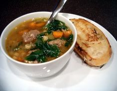 Italian Wedding Soup. I use a bit less pasta than called for, a bit more liquid and b/c I use low sodium broth, I then add salt and pepper. We use alphabet pasta. I would suggest using the mixed meat if you can find it (its listed as meatloaf mix at the Giant)