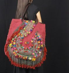 Red Hemp Hippie Large Bohemian Hippie Bag handmade P0001