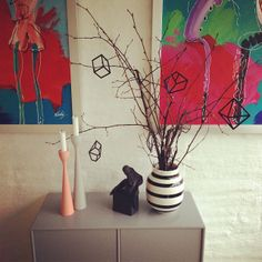 Beautiful colored Scandinavian home, and Rolf™ candlesticks in beech wood, mid-century modern. By FREEMOVER.se Design Maria Lovisa Dahlberg.